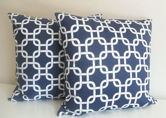 items similar to two navy blue pillow covers 20 x 20 inch chain link sofa pillows throw pillows. Black Bedroom Furniture Sets. Home Design Ideas