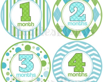 Monthly Baby Boy Stickers, Baby Month Stickers, Monthly Bodysuit Sticker, Monthly Stickers, Milesone Stickers Blue Green Argyle (Logan)