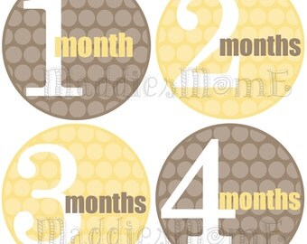 Monthly Baby Stickers, Milestone Stickers, Baby Month Stickers, Monthly Bodysuit Sticker, Monthly Stickers (Neutral Solid Yellow and Gray)