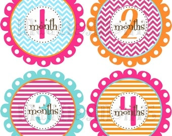 Monthly Baby Girl Stickers Baby Month Stickers, Monthly Bodysuit Sticker, Monthly Stickers Pink Orange Chevron (Ellie