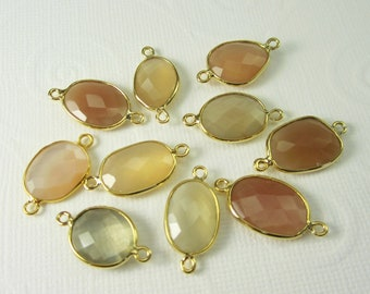 1 Pc - Genuine Faceted Peach Moonstone Connector, Findings With Gold Plated Over 925 Sterling Silver Bezel Rim C5226G