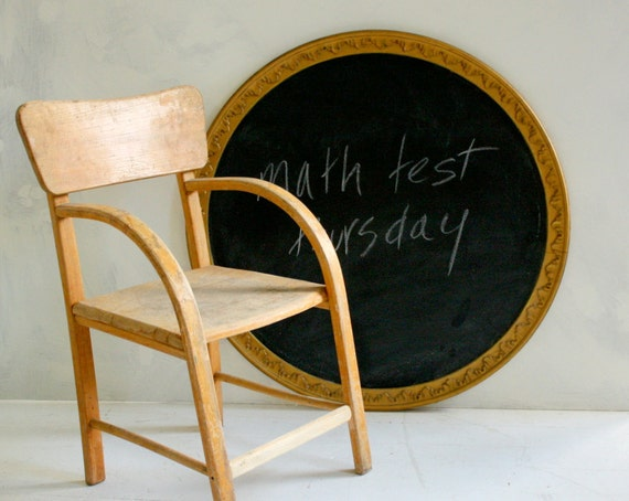 Big Art Deco Magnetic Chalkboard in Vintage Wooden Frame