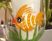 Girly Orange Fish hand painted wine glasses.