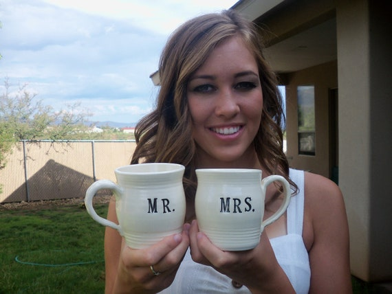 MR and MRS coffee cup set, mugs, tea hot chocolate ceramic black and white, Gift Boxed, In Stock