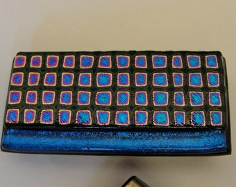 Money Clip, Dichroic Fused Glass Money Clip, Blue and Black Gifts, Pocket Accessories, Gifts for Your Boss, Gifts Under 30 Dollars