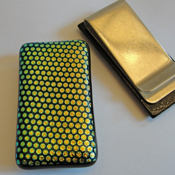 Dichroic Fused Glass Money Clip Mens Accessories Dichroic Jewelry Glass Art Polka Dots
