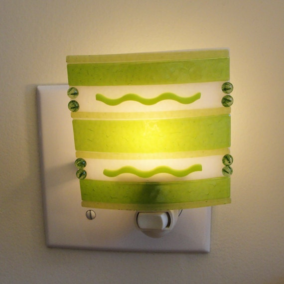 Iridescent Fused Glass Night Light Green Night Light Home