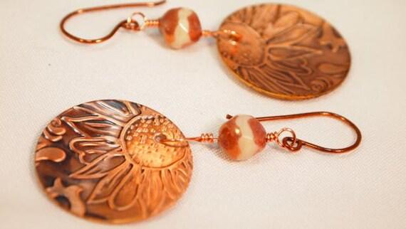 Metal Work Copper Earrings,  Cooper Dangling Pierced Earrings   CKDesigns.us