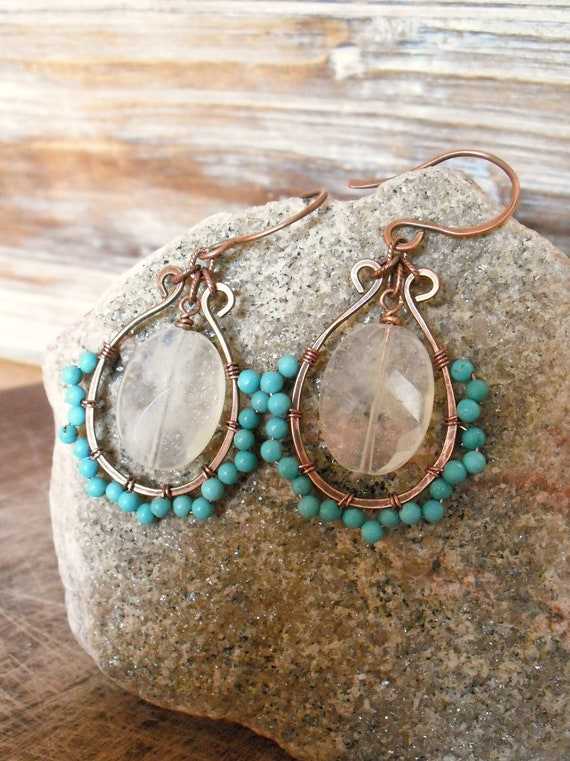 Goldie. Turquoise Stone and Pineapple Yellow Quartz, Hand Forged and Wire Wrapped, Pure Copper Boho Earrings