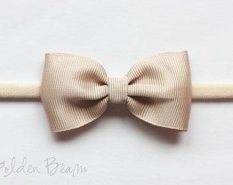 Baby Bows - Cream Grosgrain Ribbon Bow Handmade Headband