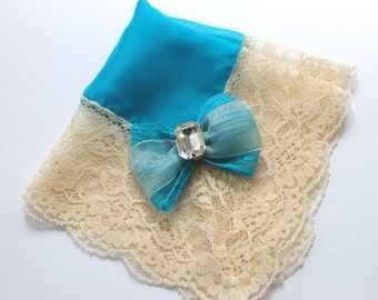 Teal Wedding Handkerchief, Bride Handkerchief, Lace Handkerchief, Something Blue Bride, Wedding Hankies, Vintage Hanky, Silk Handkerchief