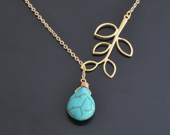 10% OFF,Turquoise and branch necklace,Gold necklace,Lariat necklace,Bridal,Mothers day,Anniversary,Christmas Necklace,Goldfilled necklace