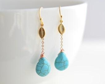30% OFF, Turquoise teardrop and leaf gold earrings, Dangle earrings, Wedding earrings, Summer earrings,Clip earrings,Earrings set,Gem stone