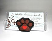 Business card holder.  Dog paw print with heart.  Pet business.