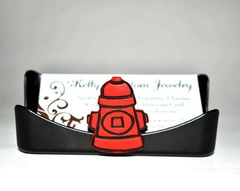 Business card holder.  Pet business.  Fire hydrant.  Red and black.