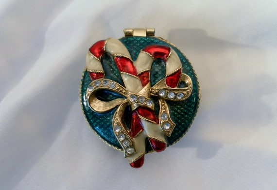 Small Monet Enamel Bow and Christmas Candy Cane w Crystals Trinket Box.