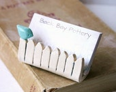 Little Bird On a White Picket Fence - Ceramic Business Card Holder - Tiffany Blue - Ready to Ship
