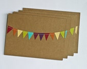 RESERVED 10 5x7 Rainbow Bunting Flag Thank You Cards