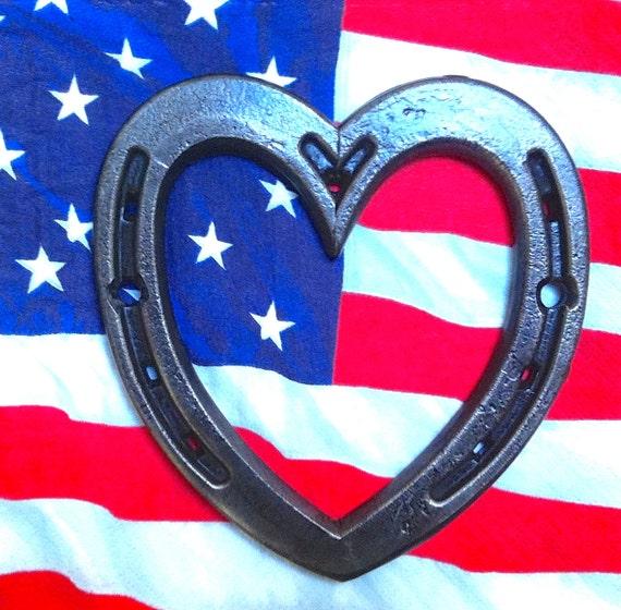 HORSESHOE heart, iron steel metal, IN STOCK, bridal wedding birthday gift, 5 inches tall, patriotic