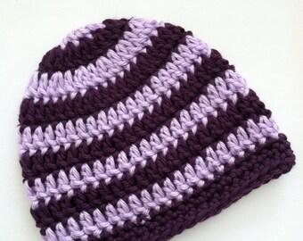 Purple and Lavender Stripe Beanie, Crochet Baby Hat, Newborn Hat, Baby Hat, Crochet Baby Beanie, Photo Prop, Purple Baby Hat