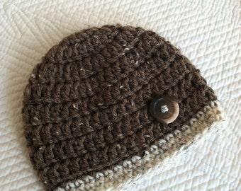 Crochet Baby Beanie in Brown and Tan, Crochet Baby Hat, Newborn Hat, Winter Hat, Baby Boy Hat, Christmas Baby Hat, Little Boy Hat