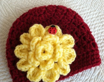 Red Crochet Baby Hat with Flower, Crochet Baby Hat, Newborn Hat, Baby Hat with Lady Bug, Red Baby Hat, Hat with Flower, Christmas Hat
