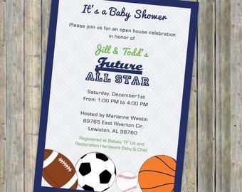 Baby boy shower invitations,  All Star Invite, Sports themed, Future All star, digital, printable file