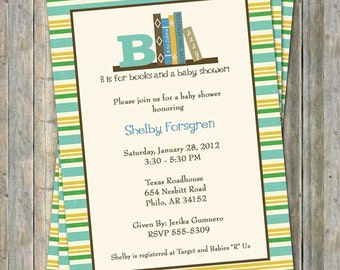 Bring a Book Baby Shower Invite, Baby boy shower invitation, printable, digital file