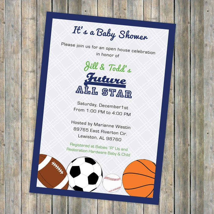 baby boy shower invitations all star invite sports themed, Baby shower invitations