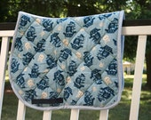 Horse Saddle Pad AP Quilted Pirate Ship and Crossbones Jolly Roger Pattern Blue Cotton and Fleece