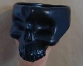 Ceramic Skull Bowl Finished with a Food-Safe Black Satin Glaze