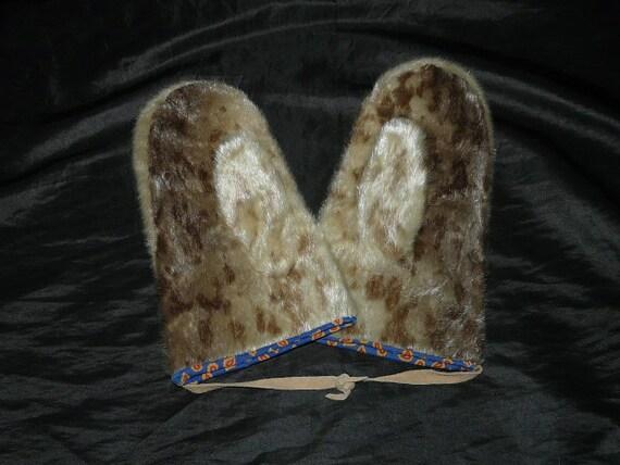 Vintage Alaska Eskimo Fur Seal Hide Skin Mittens Native Winter