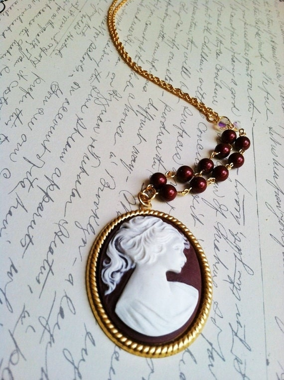 Cameo necklace Swarovski pearl Maroon and White cameo lady on gold-tone backing with matching Swarovski pearls