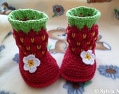 Knitting pattern baby boots, -strawberry- approx 3 1/2 inches PDF