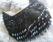 Classic Black Beaded Bag 1960's Vintage Black Tie Formal Collectible Clutch Handbag Made in Hong Kong