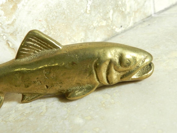 Brass Bottle Opener - Vintage Fishing - Brass Fish - Fly Fishing - Bottle Cap Opener
