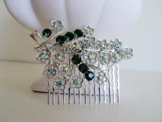 Emerald Green and Aurora Borealis Crystal Hair Comb
