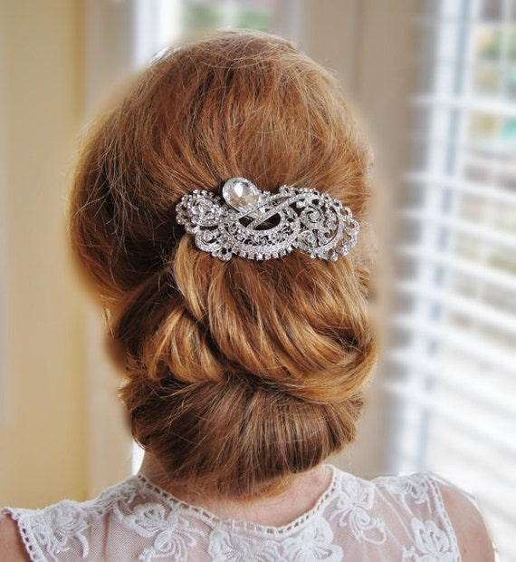 Large Peacock Crystal Hair Comb Bridal Headpiece Wedding Accessories