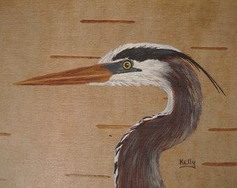 Great Blue Heron hand painted on birch bark.