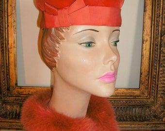 Vintage 1950's Kathy Apricot Velvet Hat with Grogain Ribbon Trim