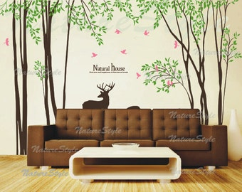 Trees Wall Decal nursery wall decal baby girl room decal living room decal decal birds - Tree with Flying Birds and Deer