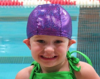 Lycra SWiM CaP - PURPLE SPARKLE - Sizes - Baby , Child , Adult , XL - Made from Spandex / Swimsuit Swimming Fabric -by Froggie's Swim Caps
