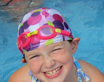 Lycra SWiM CaP - SPARKLE DOTS - Sizes - Baby , Child , Adult , XL - Made from Spandex / Swimsuit Swimming Fabric -by Froggie's Swim Caps
