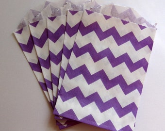 "Set of 10 Purple and White Chevron Bitty Bags (2.75"" x 4"")"