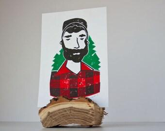 Small Lumberjack with Trees - Linocut Print Wall Decor