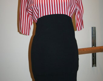 SALE Red Black and White Referee style Mini Dress Umpire soccer style Halloween