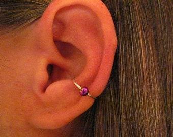 "No Piercing ""Conch Rainbow Captive Ball"" Ear Cuff Handmade Silver Tone Wire Cartilage"