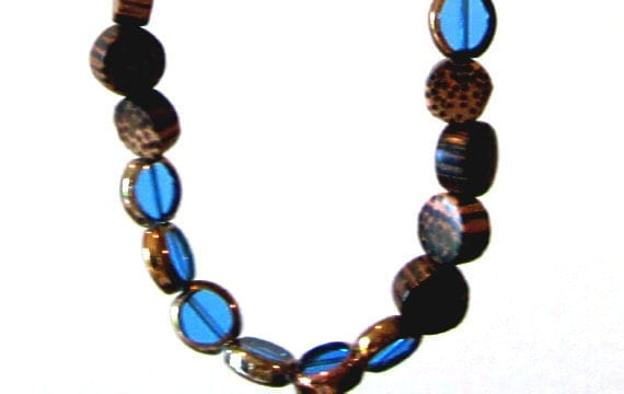 """Beautiful Wood and Glass Bead """"Earth & Sky"""" 18"""" Necklace"""