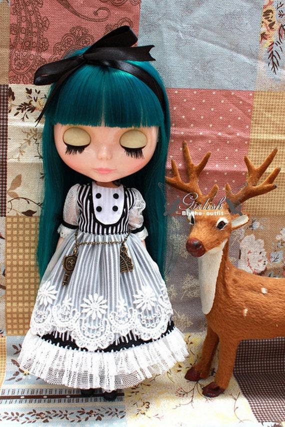 Black & White stripes dress for Blythe doll - Blythe outfit