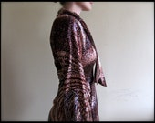 Reserved - Marie. galaxy dress. vintage 70s long sleeve pointillist swirling galaxy print dress. size small